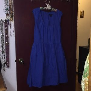 J Crew 12 Tank dress. GUC. Linen. Vibrant blue.